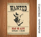 wanted poster on wood wall... | Shutterstock .eps vector #398234911