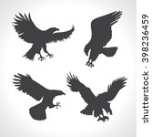 eagle silhouettes set on white... | Shutterstock .eps vector #398236459