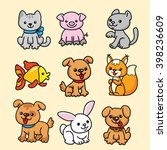 cartoon animals. black outline. | Shutterstock .eps vector #398236609