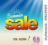 hot summer sale banner with sun ... | Shutterstock .eps vector #398239345