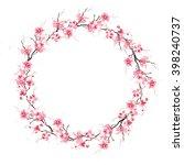 spring cherry sakura wreath....   Shutterstock . vector #398240737