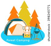 forest camping near the wood in ... | Shutterstock .eps vector #398245771