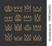 set of gold crown icons.... | Shutterstock .eps vector #398246431