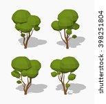 green tree. 3d lowpoly... | Shutterstock .eps vector #398251804