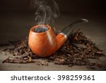 Classic Wooden Pipe With Smoke...
