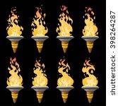 cartoon torch with fire... | Shutterstock .eps vector #398264287