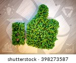 green thumbs up with eco icons. ... | Shutterstock . vector #398273587