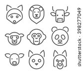 animals heads vector line icons ... | Shutterstock .eps vector #398277049