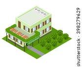 green vegetarian eco cafe. flat ... | Shutterstock .eps vector #398279629