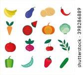 isolated set of vegetables ... | Shutterstock .eps vector #398286889