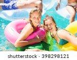 happy friends enjoying their... | Shutterstock . vector #398298121
