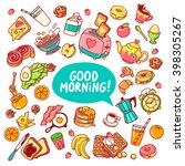 colorful vector breakfast yummy ... | Shutterstock .eps vector #398305267