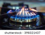 Blue Flames On Gas Stove Burner.