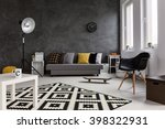 grey living room with sofa ... | Shutterstock . vector #398322931