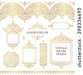 vector set of line art frames ... | Shutterstock .eps vector #398336695