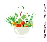 vegetable salad with spices on... | Shutterstock .eps vector #398349289