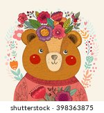 vector pattern with  adorable... | Shutterstock .eps vector #398363875