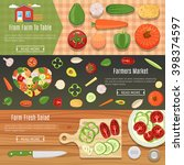colorful fresh vegetables flat... | Shutterstock .eps vector #398374597