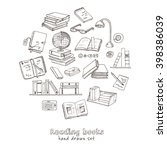 hand drawn doodle books reading ... | Shutterstock .eps vector #398386039