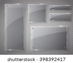 glass plates set. vector glass... | Shutterstock .eps vector #398392417