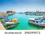 Old venetian harbor with boats in Heraklion, Crete island, Greece