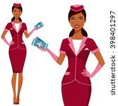 beautiful indian air hostess... | Shutterstock .eps vector #398401297