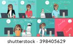 woman plan work week design... | Shutterstock .eps vector #398405629
