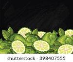 bergamot on chalkboard... | Shutterstock .eps vector #398407555