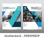 Blue triangle annual report brochure flyer design template vector, Leaflet cover presentation abstract flat background, layout in A4 size   Shutterstock vector #398409829