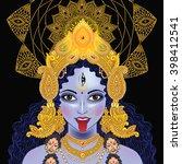 indian hindi goddess kali....   Shutterstock .eps vector #398412541
