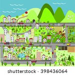 landscape with city and village ... | Shutterstock .eps vector #398436064