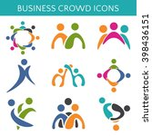 set of icons crowd business... | Shutterstock .eps vector #398436151