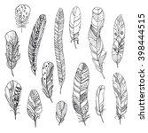 set of decorative feathers | Shutterstock .eps vector #398444515