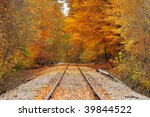 An stretch of old railroad track running through a brilliant autumn wood - stock photo