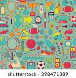 doodle sports elements. vector... | Shutterstock .eps vector #398471389