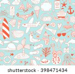 summer vacation set doodle...   Shutterstock .eps vector #398471434