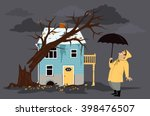 upset homeowner standing in... | Shutterstock .eps vector #398476507