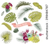 set of trendy tropical leaves ... | Shutterstock .eps vector #398484787