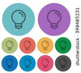 color light bulb flat icon set...