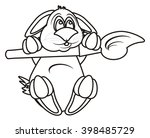 coloring rabbit hanging on... | Shutterstock . vector #398485729