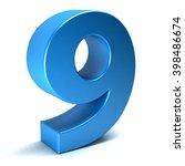 number nine 9 color blue icon.... | Shutterstock . vector #398486674