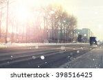 Road City Car Winter Sunset