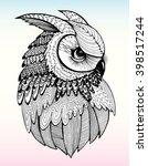 portrait of an owl. owls head.... | Shutterstock .eps vector #398517244