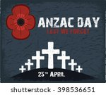 anzac day.  day card in vector... | Shutterstock .eps vector #398536651