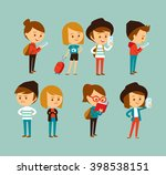 cute people at the simple style ... | Shutterstock .eps vector #398538151