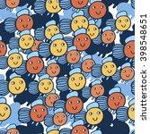 sea pattern orange fish | Shutterstock .eps vector #398548651