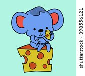 smart mouse eats cheese and... | Shutterstock .eps vector #398556121