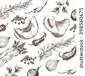 vector hand drawn vegetable... | Shutterstock .eps vector #398560675