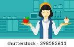 woman with apple and cake. | Shutterstock . vector #398582611