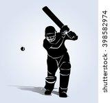 vector silhouette cricketer | Shutterstock .eps vector #398582974